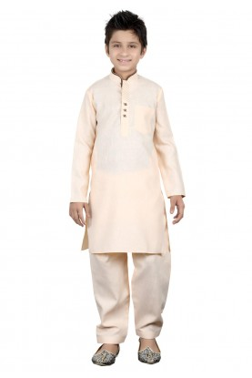 Golden Color Boy's Pathani Kurta.