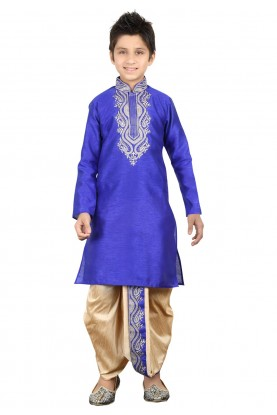 Blue Color Boy's Dhoti Kurta Pajama.
