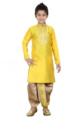 Yellow Color Boy's Dhoti Kurta.