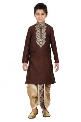 Wine Color Boy's Readymade Dhoti Kurta.