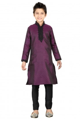 Purple Color Boy's Readymade Kurta Pajama.