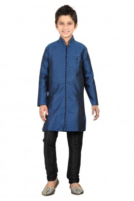 Blue Color Boy's Indowestern Kurta Pajama.
