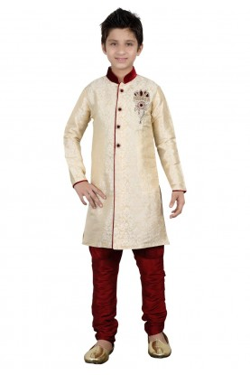 Cream Color Boy's Indowestern.