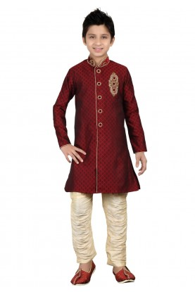 Maroon Color Boy's Indian indowestern.