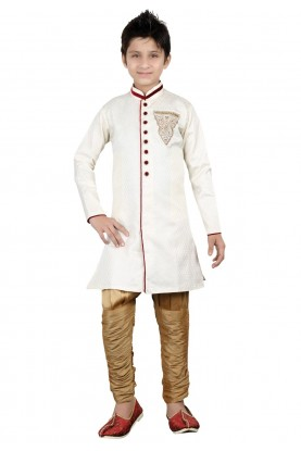 Off White Color Boy's Indowestern Kurta Pajama.