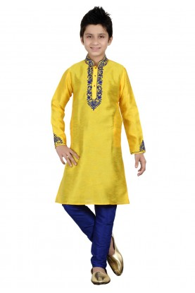 Yellow Color Boy's Indian Kurta Pajama.