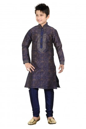 Blue Color Art Silk Boy's Kurta Pajama.