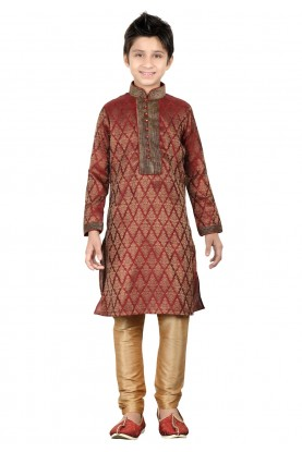 Maroon Color Boy's Readymade Kurta Pajama.