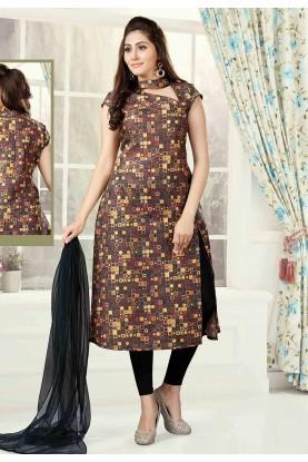 Brown Color Printed Salwar Kameez.