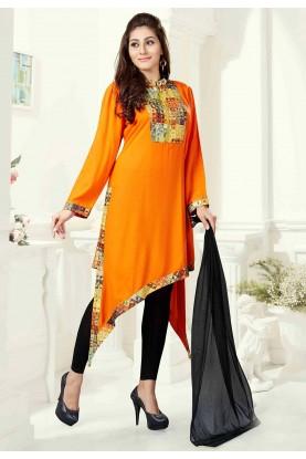 Orange Color Cotton Readymade Salwar Kameez.