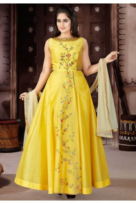 Yellow Color Party Wear Salwar Kameez.