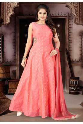 Pink Color Chanderi Silk Fabric Salwar Suit.
