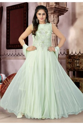 Gown Style Green Color Salwar Suit.