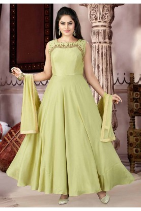 Green Color Anarkali Salwar Kameez.