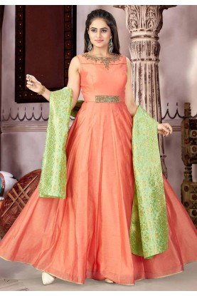 Orange Color Anarkali Salwar Kameez.