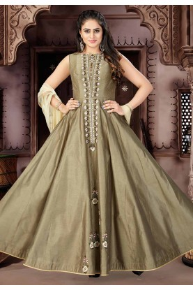 Brown Color Anarkali Salwar Suit.
