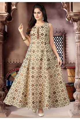 Beige Color Readymade Salwar Kameez.