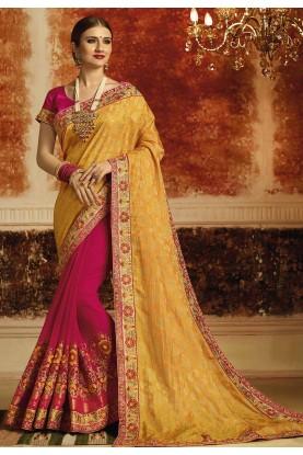 Yellow,Pink Color Designer Saree.