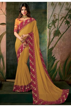 Yellow Color Indian Wedding Saree.