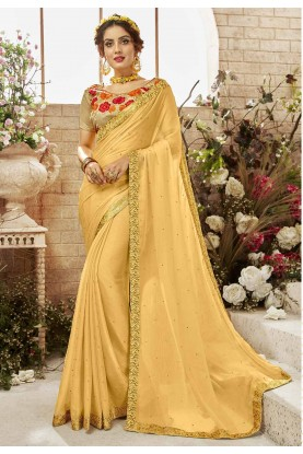 Yellow Color Party Wear Saree.