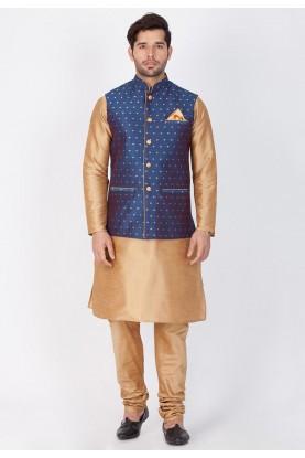 Golden,Blue Color Designer Kurta Pajama with Nehru Jacket