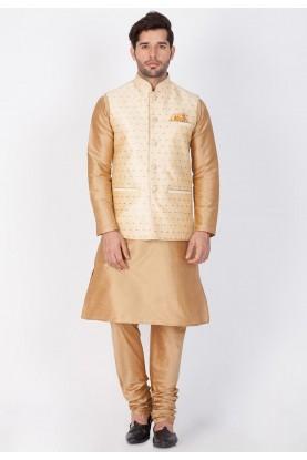 Latest Golden,Cream Color Readymade Kurta Pajama with Jacket
