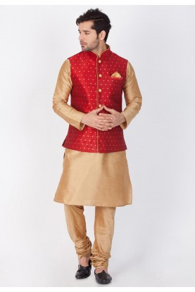 Golden,Red Color Party Wear Kurta Pajama with Nehru Jacket