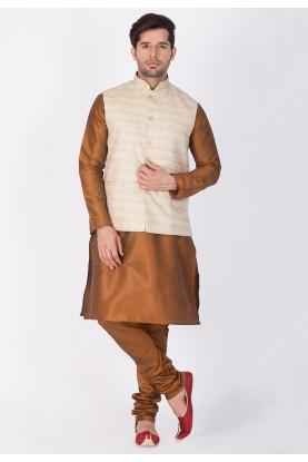 Brown,Beige Color Kurta Pyjama with Nehru Jacket
