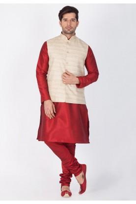 Latest Maroon,Beige Color Kurta Pajama with Jacket