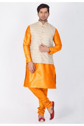 Orange,Beige Color Traditional Kurta Pajama with Nehru Jacket