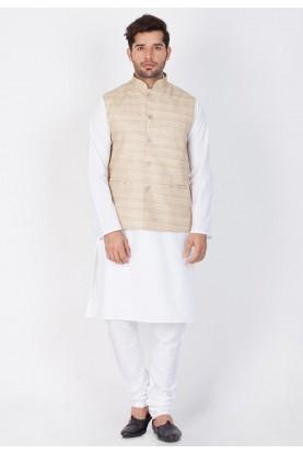 Latest White,Beige Color Kurta Pajama With Jacket