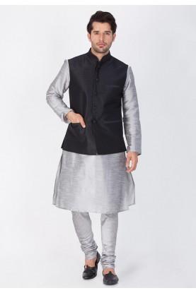 Latest Grey,Black Color Cotton Silk Kurta Pajama with Jacket