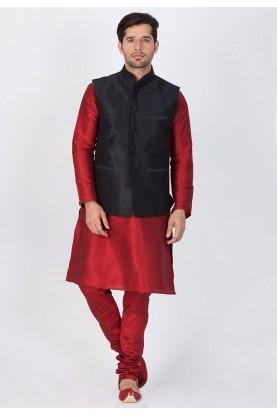 Maroon,Black Color Readymade Kurta Pajama With Nehru Jacket