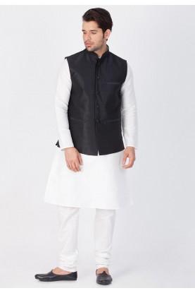 Latest White,Black Color Kurta Pajama with Jacket