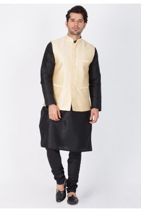 Black,Golden Color Party Wear Kurta Pajama with Nehru Jacket
