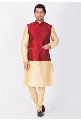 Golden,Maroon Color Readymade Kurta Pajama With Nehru Jacket