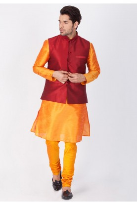 Latest Orange,Maroon Color Traditional Kurta Pajama with Jacket