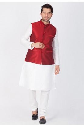 White,Maroon Color Kurta Pajama with Nehru Jacket