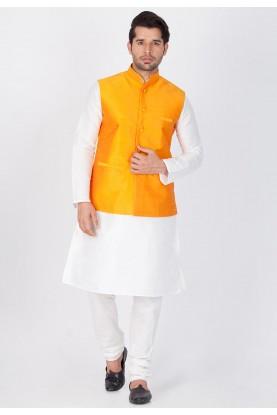 Latest White,Orange Color Cotton Silk Kurta Pajama with Jacket