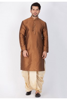 Brown Color Cotton Silk Dhoti Kurta for men