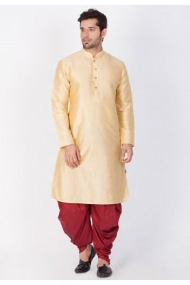 Golden Color Designer Dhoti Kurta.