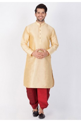 Readymade: Buy Dhoti Kurta Online for Men in Golden Color