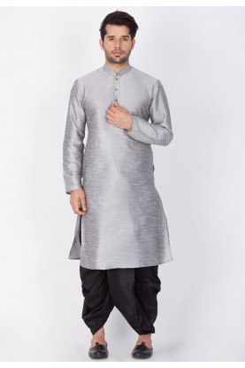 Grey Color Cotton Silk Dhoti Kurta.