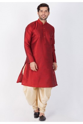 Designer: Buy Dhoti Kurta Online for Men in Maroon Color