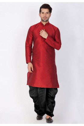 Maroon Color Cotton Silk Kurta Pajama.