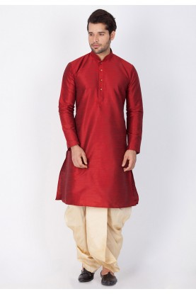 Buy Dhoti Kurta Online for Men in Maroon Color