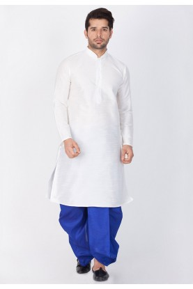 White Color Designer Dhoti Kurta for men