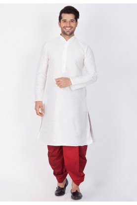 White Color Readymade Dhoti Kurta.