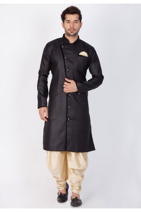 Black Color Cotton Dhoti Kurta for men