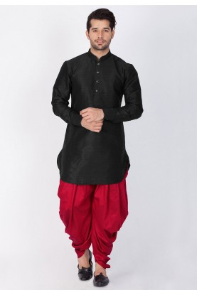 Black Color Party Wear Dhoti Kurta.